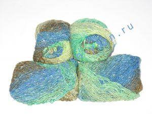 Пряжа секционного крашения 2/1. 55% Хлопок, 40% вискоза, 5% натуральный шелк (mulberry silk). Цвет 02. Основные цвета: оттенки синего, зеленого и коричневого