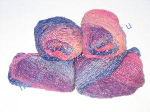 Пряжа секционного крашения 2/1. 55% Хлопок, 40% вискоза, 5% натуральный шелк (mulberry silk). Цвет 05. Основные цвета: оттенки синего и красного