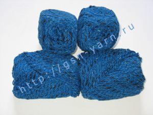 Пряжа меланж / меланжевая пряжа 4,8/3. 52% Хлопок, 24% лен, 24% вискоза. Цвет 04: синий + черный (меланж)