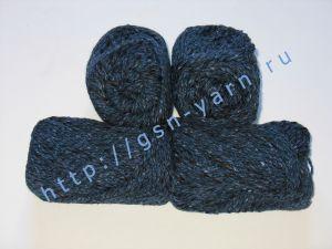 Пряжа меланж / меланжевая пряжа 4,8/3. 52% Хлопок, 24% лен, 24% вискоза. Цвет 05: темно-синий + черный (меланж)