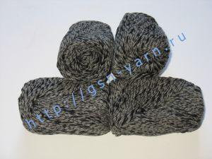Пряжа меланж / меланжевая пряжа 4,8/3. 52% Хлопок, 24% лен, 24% вискоза. Цвет 08: серый + черный (меланж)