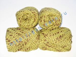 Пряжа меланж / меланжевая пряжа 4,8/3. 52% Хлопок, 24% лен, 24% вискоза. Цвет 03: желтый + коричневый (меланж)