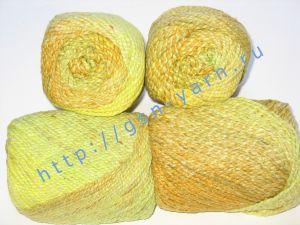 Пряжа секционного крашения 2/2. 55% Хлопок, 40% вискоза, 5% натуральный шелк (mulberry silk). Цвет 07. Основные цвета: оттенки желтого