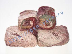 Пряжа секционного крашения 2/1. 55% Хлопок, 40% вискоза, 5% натуральный шелк (mulberry silk). Цвет 06. Основные цвета: оттенки бордового, белого и зеленого