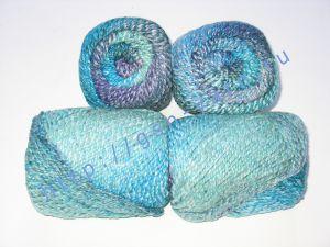 Пряжа секционного крашения 2/2. 55% Хлопок, 40% вискоза, 5% натуральный шелк (mulberry silk). Цвет 01. Основные цвета: оттенки голубого и фиолетового