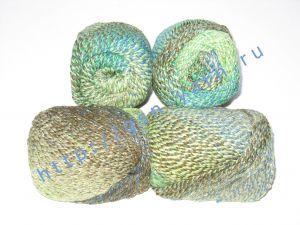 Пряжа секционного крашения 2/2. 55% Хлопок, 40% вискоза, 5% натуральный шелк (mulberry silk). Цвет 02. Основные цвета: оттенки синего, зеленого и бордового