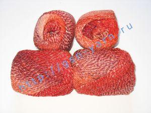 Пряжа секционного крашения 2/2. 55% Хлопок, 40% вискоза, 5% натуральный шелк (mulberry silk). Цвет 04. Основные цвета: оттенки красного