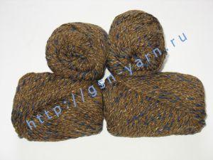 Пряжа меланж / меланжевая пряжа 4,8/3. 52% Хлопок, 24% лен, 24% вискоза. Цвет 02: коричневый + синий (меланж)