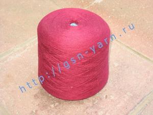 Пряжа 26/2 на бобинах для ручного и машинного вязания, ткачества. 30% Натуральный шелк (mulberry silk), 30% хлопок, 25% шерсть (soft wool), 15% беби альпака (baby alpaca). Цвет насыщенно-бордовый