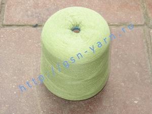 Пряжа 26/1 на бобинах для ручного и машинного вязания, ткачества. Узелковая пряжа, пряжа с включениями (NEPS yarn). 50% Хлопок, 30% натуральный шелк (mulberry silk), 16% шерсть (soft wool), 4% кашемир. Цвет бледно-зеленый + разноцветные вкрапления
