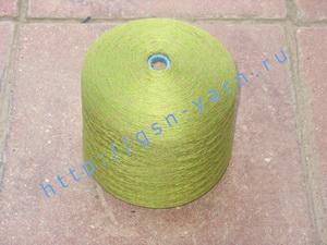 Пряжа 26/2 на бобинах для ручного и машинного вязания, ткачества. Узелковая пряжа, пряжа с включениями (NEPS yarn). 60% Бамбук, 25% шерсть (soft wool), 10% натуральный шелк (mulberry silk), 5% кид мохер (kid mohair). Цвет зеленый + разноцветные вкрапления