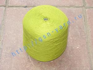 Пряжа 26/2 на бобинах для ручного и машинного вязания, ткачества. 45% Натуральный шелк (mulberry silk), 40% хлопок, 15% беби альпака (baby alpaca). Цвет зеленое яблоко