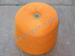 Пряжа 26/2 на бобинах для ручного и машинного вязания, ткачества. 40% Натуральный шелк (mulberry silk), 35% хлопок, 20% ангора (dehaired angora), 5% кид мохер (kid mohair). Цвет оранжевый