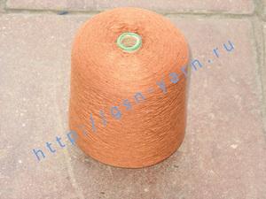 Пряжа 26/2 на бобинах для ручного и машинного вязания, ткачества. Узелковая пряжа, пряжа с включениями (NEPS yarn). 50% Хлопок, 30% натуральный шелк (mulberry silk), 16% шерсть (soft wool), 4% кашемир. Цвет коричневый + разноцветные вкрапления