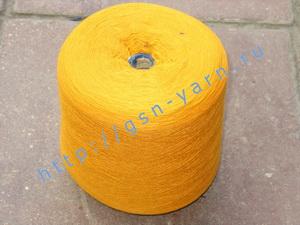 Пряжа 26/2 на бобинах для ручного и машинного вязания, ткачества. 30% Натуральный шелк (mulberry silk), 30% хлопок, 25% шерсть (soft wool), 15% беби альпака (baby alpaca). Цвет ярко-желтый, рыжий