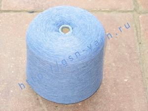 Пряжа 26/1 на бобинах для ручного и машинного вязания, ткачества. Узелковая пряжа, пряжа с включениями (NEPS yarn). 40% Хлопок, 35% шерсть (soft wool), 20% беби альпака (baby alpaca), 5% натуральный шелк (mulberry silk). Цвет сине-белый (меланж ?)
