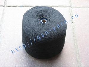 Пряжа 12,6/3 на бобинах для ручного и машинного вязания, ткачества. 60% Хлопок, 40% натуральный шелк (mulberry silk). Цвет черный