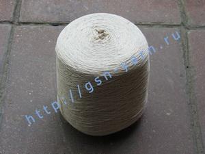 Пряжа 12,6/3 на бобинах для ручного и машинного вязания, ткачества. 60% Хлопок, 40% натуральный шелк (mulberry silk). Цвет светло-бежевый