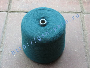 Пряжа 26/2 на бобинах для ручного и машинного вязания, ткачества. 30% Натуральный шелк (mulberry silk), 30% хлопок, 25% шерсть (soft wool), 15% беби альпака (baby alpaca). Цвет темно-зеленый